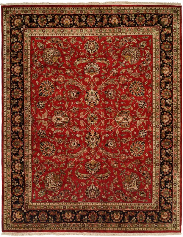 Balay Hand-Woven Red/Black Area Rug Rug Size: Square 10'