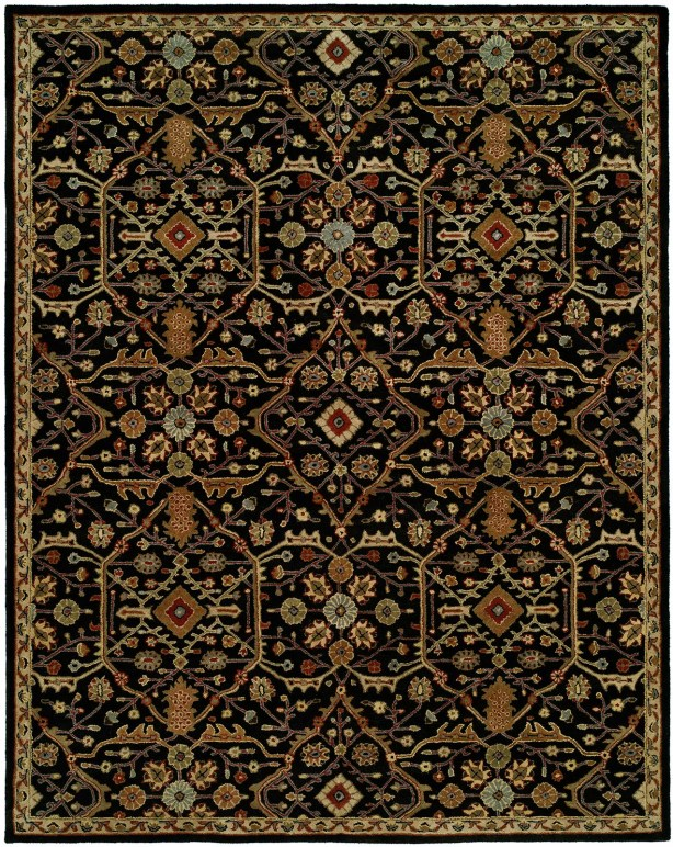 Chandran Tufted Black Area Rug Rug Size: Round 4'