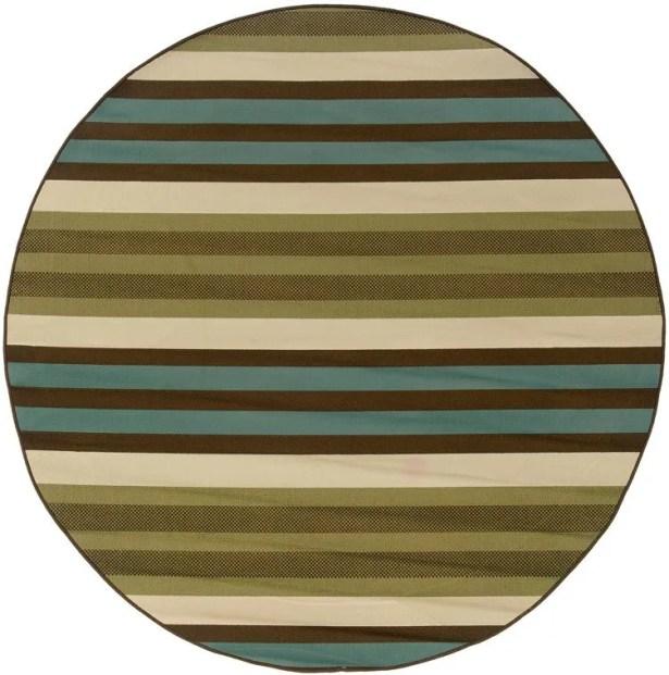 Brendel Green/Blue Indoor/Outdoor Area Rug Rug Size: Round 7'10