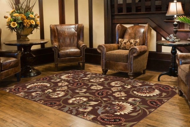 Bayou Brown Floral Area Rug Rug Size: 7'6'' x 9'10''