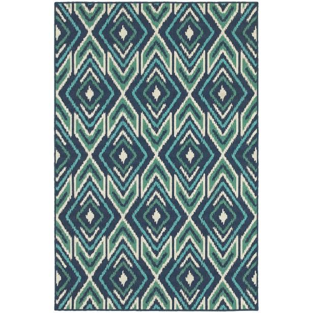 Kailani Contemporary Navy/Green Indoor/Outdoor Area Rug Rug Size: Rectangle 8'6