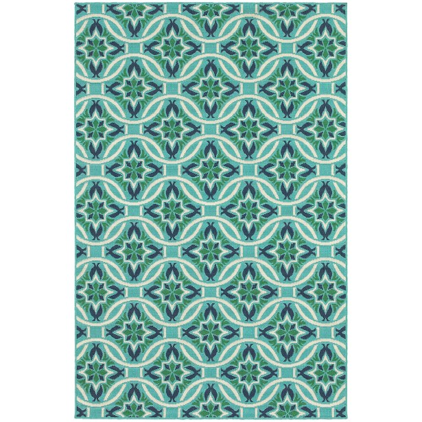 Kailani Contemporary Geometric Blue/Green Indoor/Outdoor Area Rug Rug Size: Rectangle 6'7