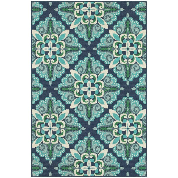 Kailani Contemporary Blue/Green Indoor/Outdoor Area Rug Rug Size: Rectangle 7'10