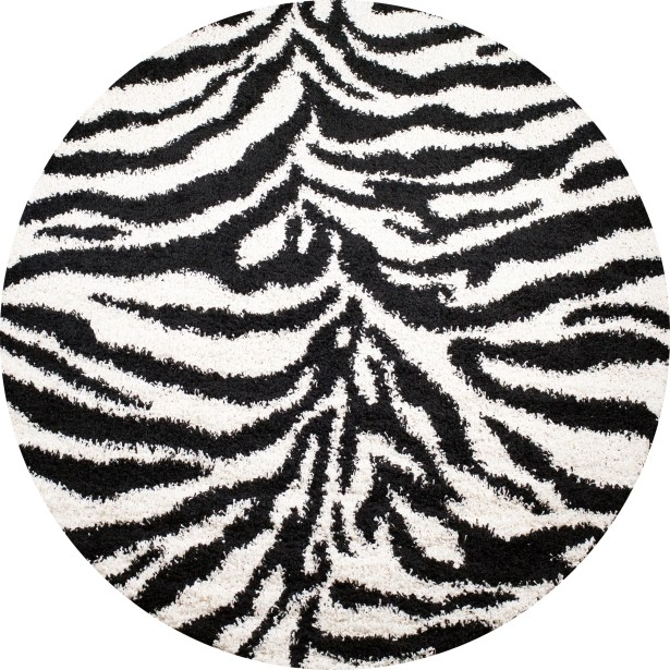 Shaggy Zebra Black & White Area Rug Rug Size: Round 6'7