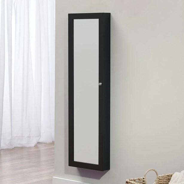 Bohdalice Over The Door Jewelry Armoire with Mirror Color: Black