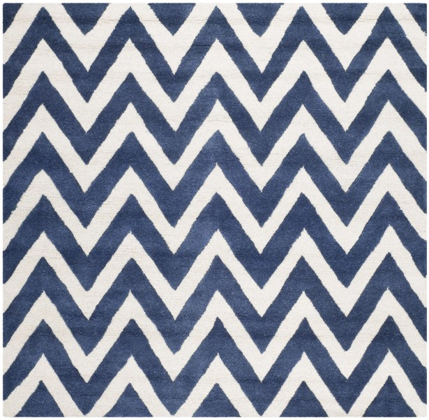 Hand-Tufted Wool Navy/Ivory Area Rug Rug Size: Square 8'