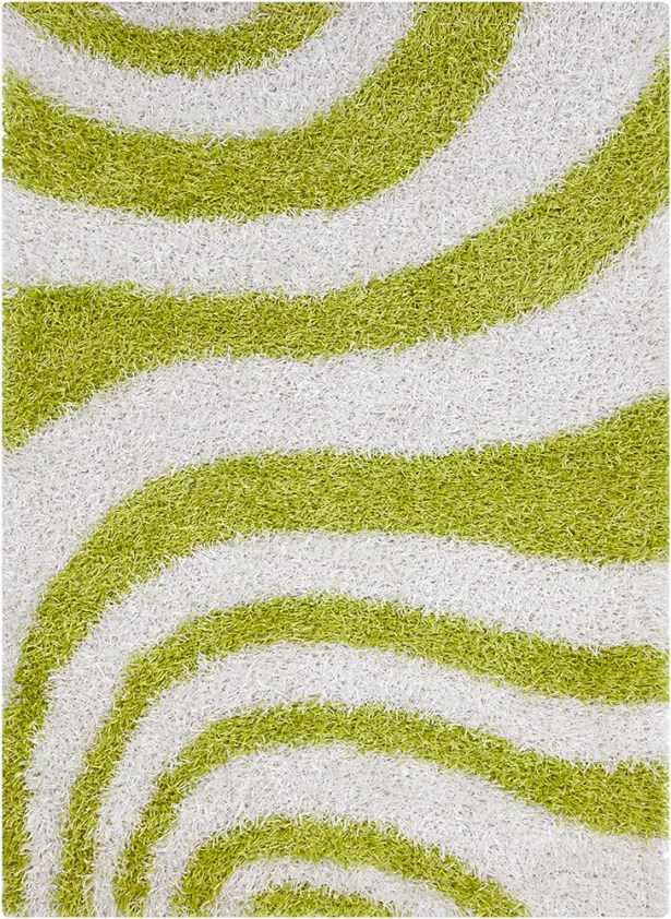 Milstead White/Green Area Rug Rug Size: 5' x 7'