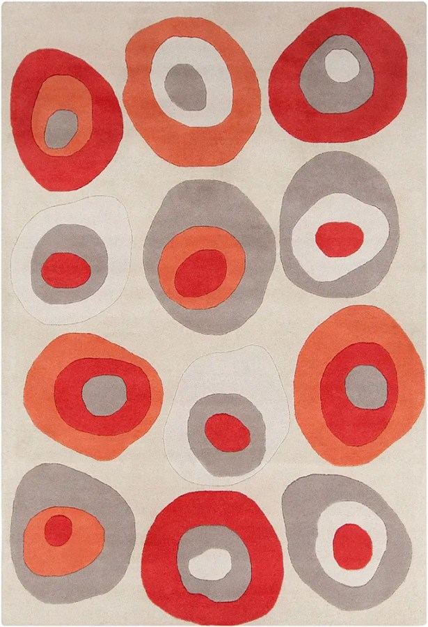 Millwood Hand Tufted Wool Cream/Red Area Rug