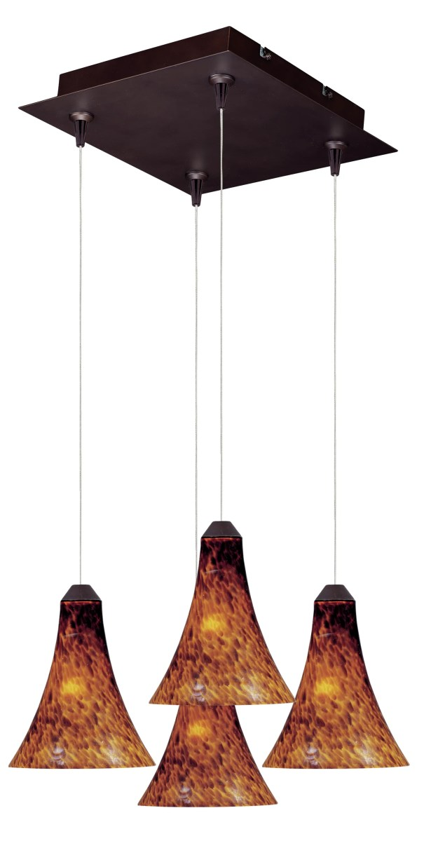 Mcwilliams RapidJack 4-Light Cluster Pendant Shade Color: Amber Leopard, Bulb Type: GY6.35 T4 Xenon, Finish: Bronze