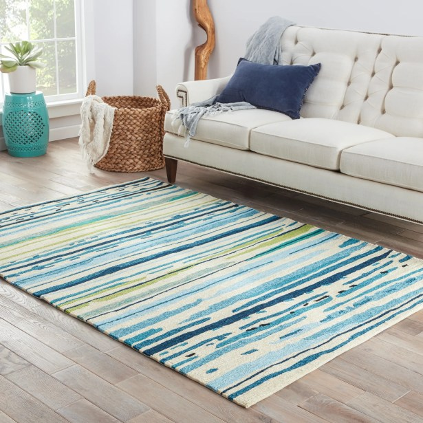 Angelina Hand-Hooked Polypropylene Blue/Green Outdoor Area Rug Rug Size: Rectangle 7'6