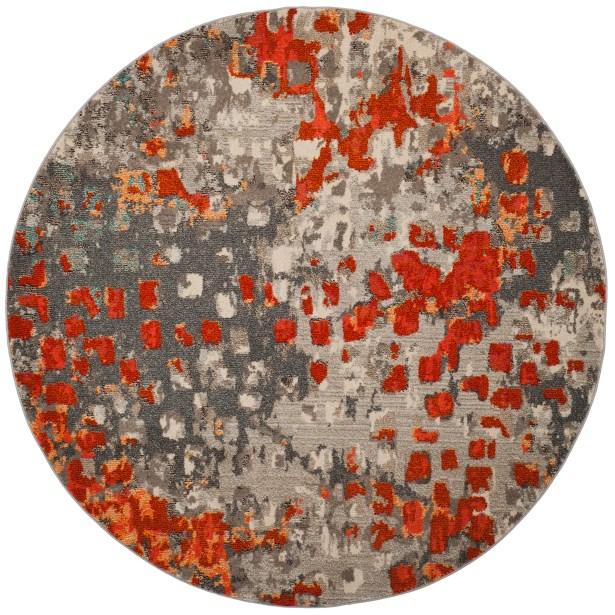 Annabel Gray/Orange Area Rug Rug Size: Round 9'