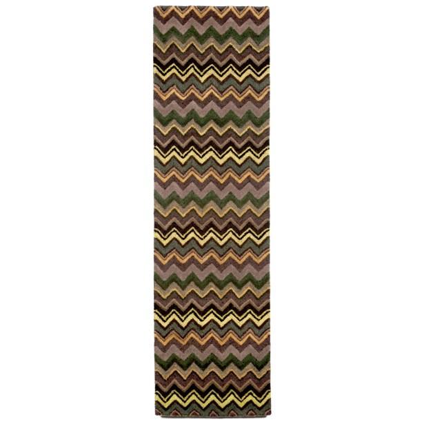 Shelburne Green Zigzag Stripe Rug Rug Size: Runner 2'3