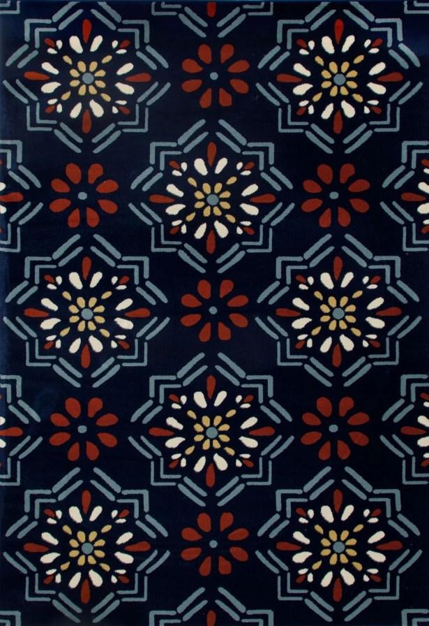 Vasquez Dark Blue/Orange Indoor/Outdoor Area Rug Rug Size: 9'2 x 12'4