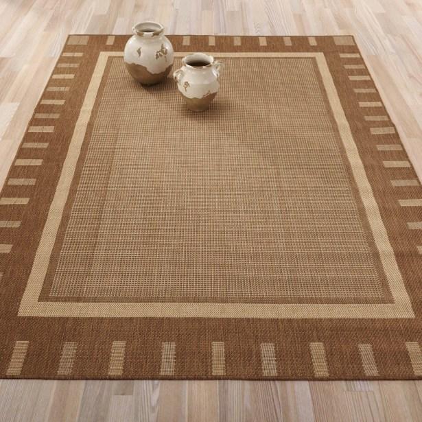 Summer Geometric Bordered Brown Indoor/Outdoor Area Rug Rug Size: 5'3