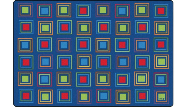 Primary Squares Blue Seating Area Rug Rug Size: 8' x 12'