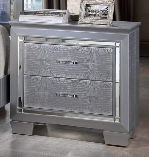 Reena 2 Drawer Nightstand Color: Silver