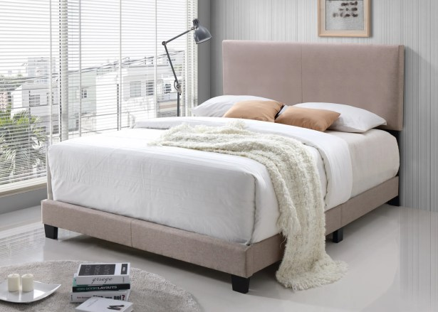 Geiger Upholstered Panel Bed Color: Cream, Size: Queen
