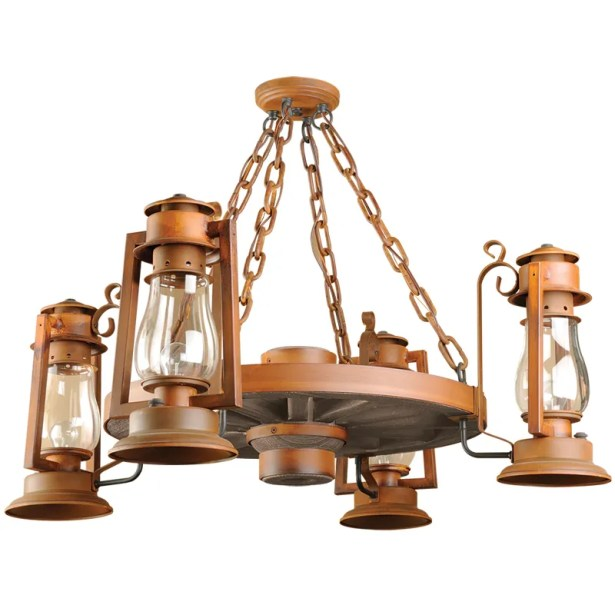 Pioneer Series 4-Light Shaded Chandelier Finish: Natural Rust, Shade: Clear