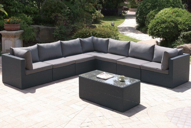 8 Piece Sectional Set with Cushions Color: Dark Gray