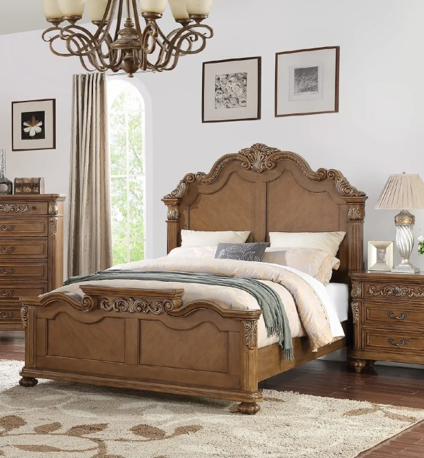 Liao Panel Bed Size: King, Color: Brown