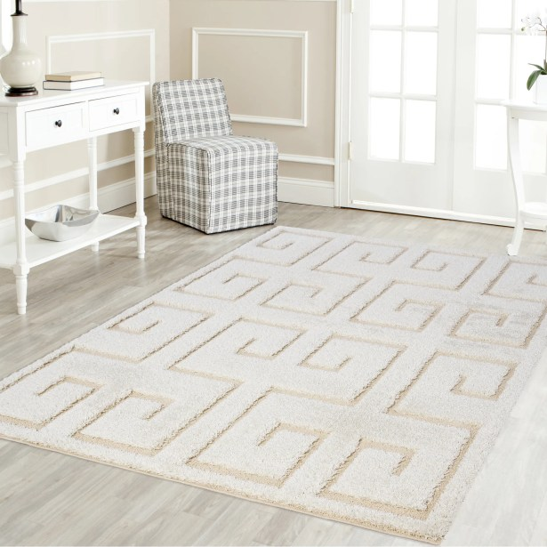 Artz Rectangle White/Beige Area Rug Size: 5' x 8'