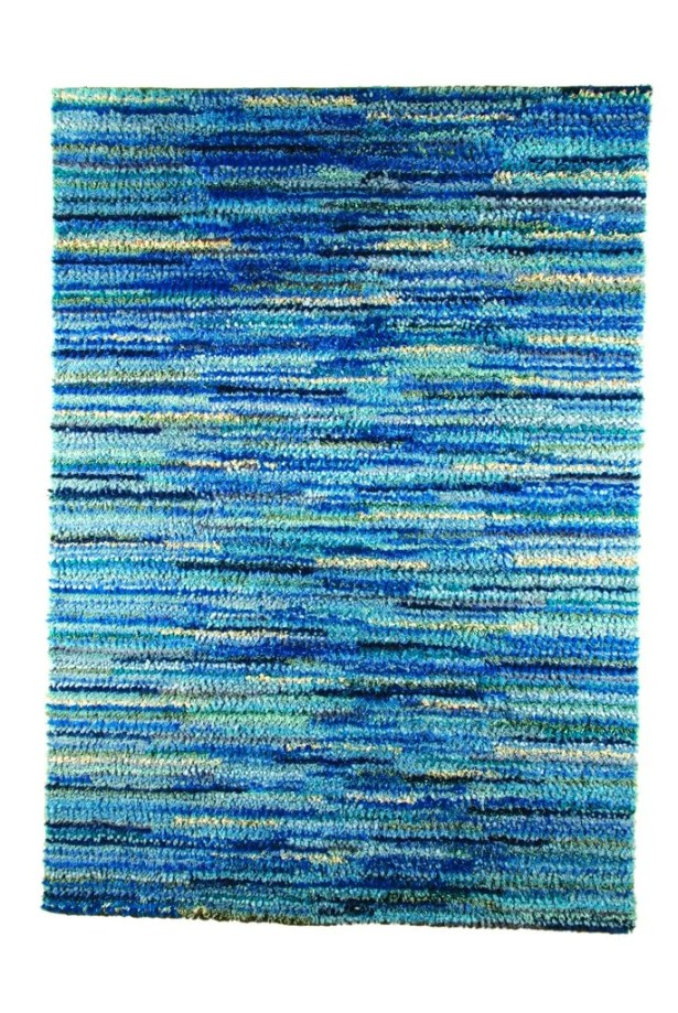 Mat Mix Hand-Woven Blue Area Rug Rug Size: 8'3