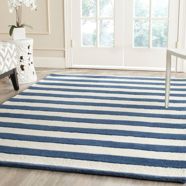 Leighton Hand-Tufted Navy/Ivory Area Rug Rug Size: Rectangle 8' x 10'