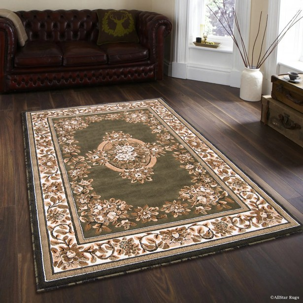 Arkin High-Quality Woven Floral Printed Drop-Stitch Carving Hunter Green Area Rug Rug Size: 7'10
