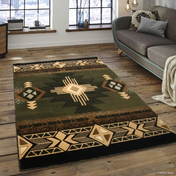 Iberide High-Quality Woven Native American Runner Double Shot Drop-Stitch Carving Sage Green Area Rug Rug Size: 5'2