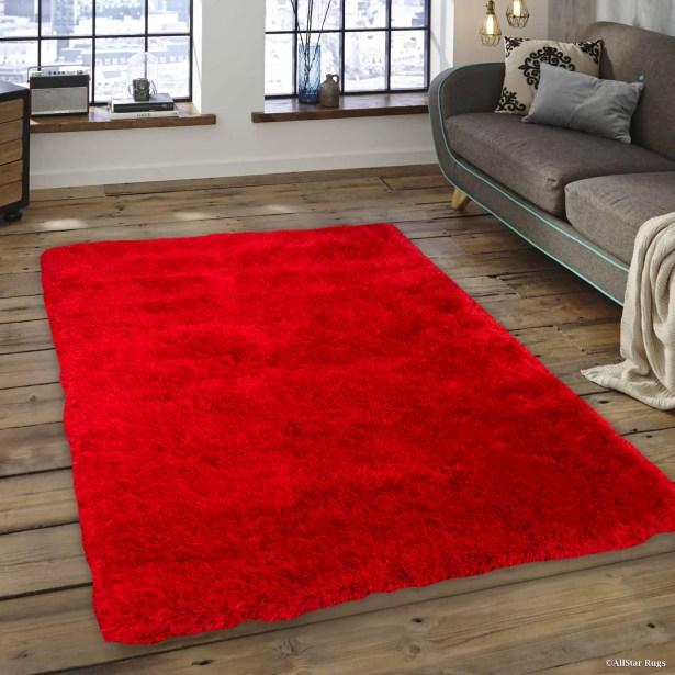 Kearns Faux Sheepskin Red Area Rug Rug Size: 7'6
