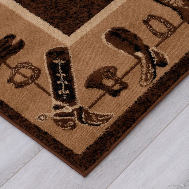 Lacour High Quality Woven Ultra-Soft Cowboy Shoe Berber Area Rug Rug Size: 5'2