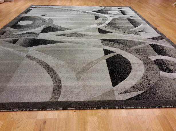 Hand-Carved Gray Area Rug Rug Size: Rectangle 7'11