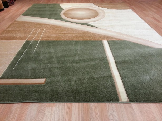 Hand-Carved Green/Beige Area Rug Rug Size: Runner 2' x 7'2