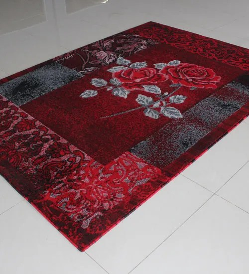 Black/Red/Grey Area Rug Rug Size: 5'3