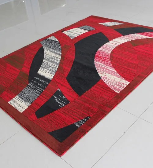 Red Area Rug Rug Size: Rectangle 5'3