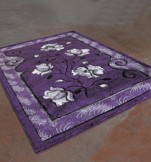 Purple/Black Area Rug Rug Size: 5'3