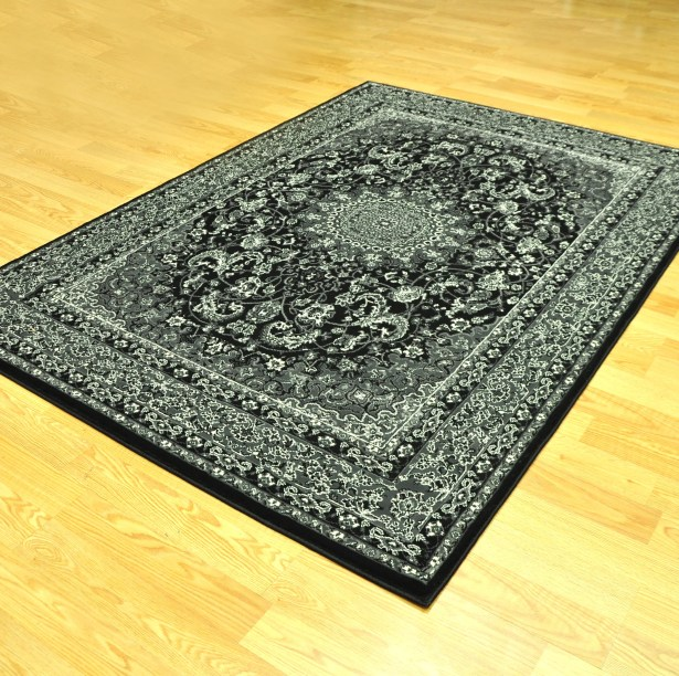 Zoel Traditional Stain Resistant Black/Gray Oriental Area Rug Rug Size: 10' x 13'