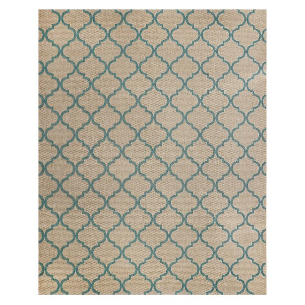 Hastings Beige/Turquoise Indoor/Outdoor Area Rug Rug Size: Rectangle 5'3