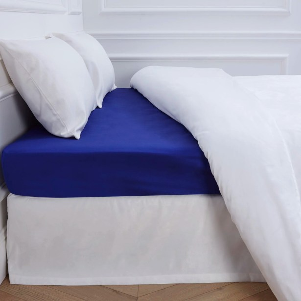 Aurore 300 Thread Count Fitted Sheet Color: Blue, Size: King