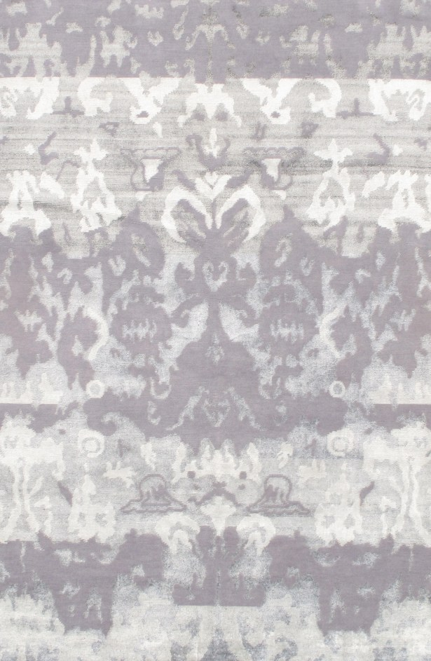Modern Rayon from Bamboo Hand-Knotted Silk Gray Area Rug