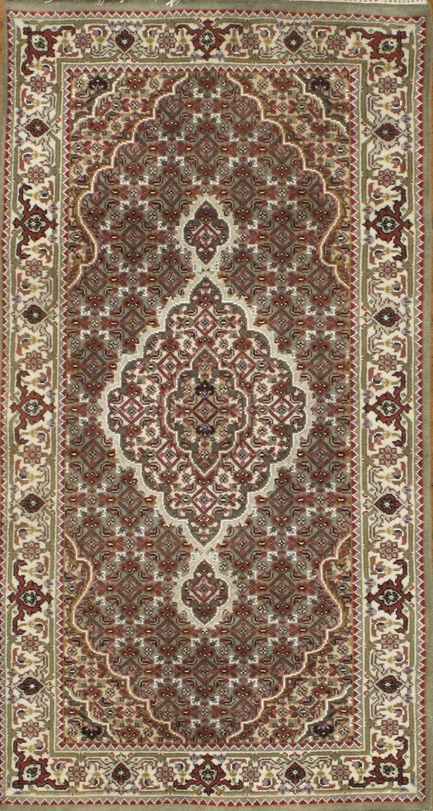Genuine Tabriz Fish Design Hand-Knotted Wool/Silk Gray/Brown Area Rug