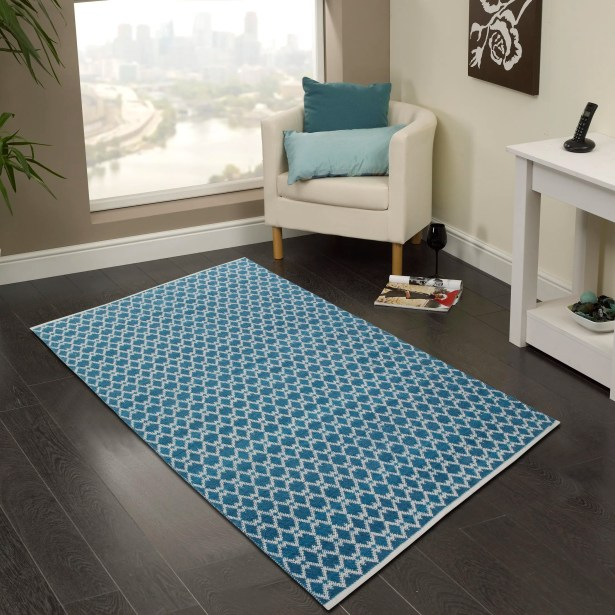 Hand-Woven Bristol Blue Area Rug Rug Size: 5' x 8'