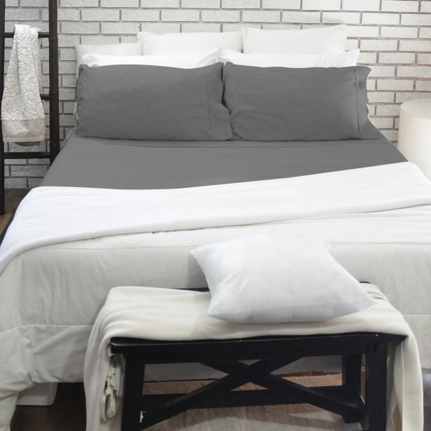 400 Thread Count 100% Cotton 4 Piece Sheet Set Color: Gray, Size: Queen