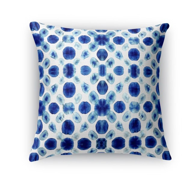 Shibori Circle Burlap Indoor/Outdoor Throw Pillow Size: 26