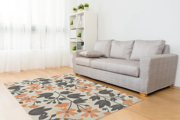 Alland Love Deux Orange/Gray Area Rug Rug Size: Rectangle 5' x 7'