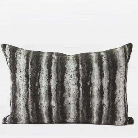 Luxury Stripe Metallic Chenille Lumbar Pillow