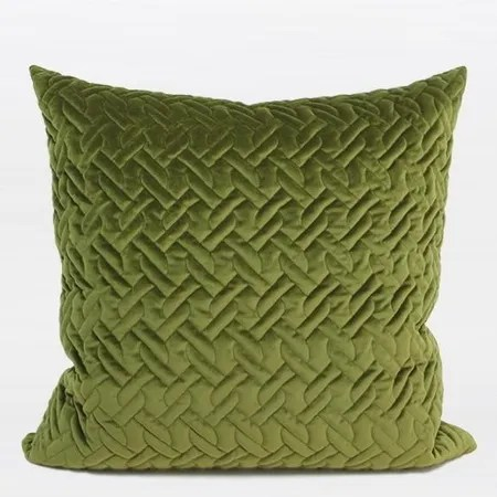 Luxury Braid Textured Quilting Throw Pillow Color: Green
