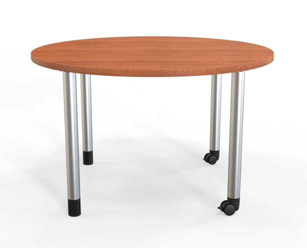 Panther Training Table with Wheels Size: 29'' H X 48'' W X 48'' D, Tabletop Finish: Amber Cherry