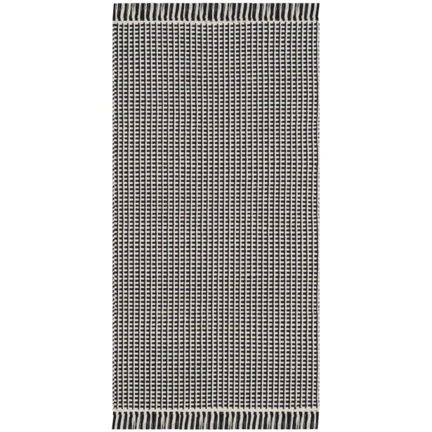 Oxbow Hand-Woven Cotton Ivory/Black Area Rug Rug Size: Rectangle 5' x 8'