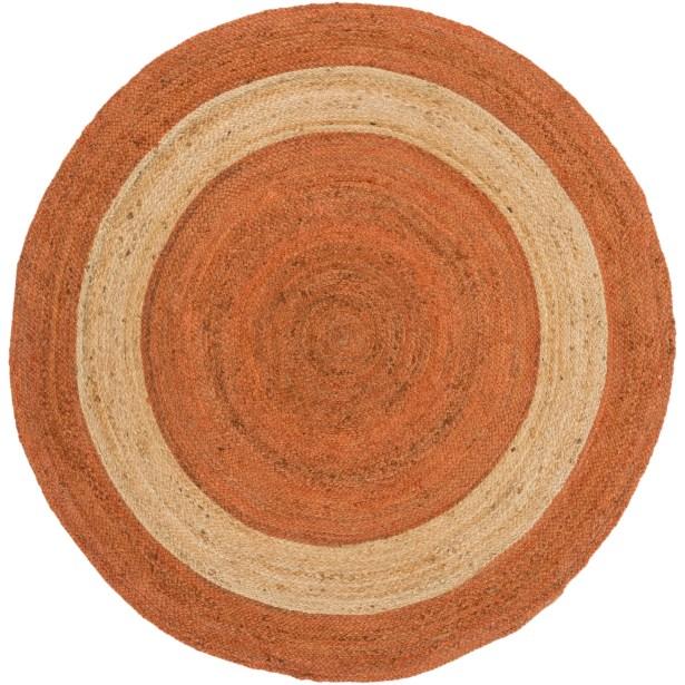 Koppel Hand-Woven Bright Orange Area Rug Rug Size: Round 8'